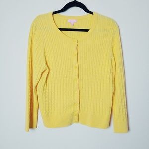 Lilly Pulitzer Yellow Cable Knit Cardigan. Size XL